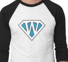 W letter in Superman style Men's Baseball ¾ T-Shirt