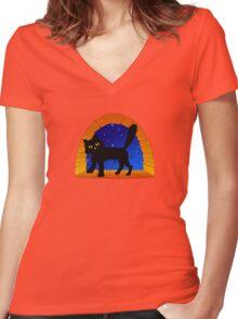 Halloween Cat Women's Fitted V-Neck T-Shirt