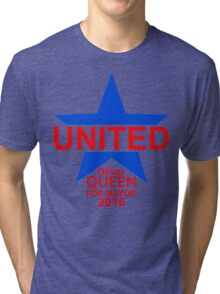 United - Oliver Queen For Mayor 2016 - Blue Star & Red Text Tri-blend T-Shirt