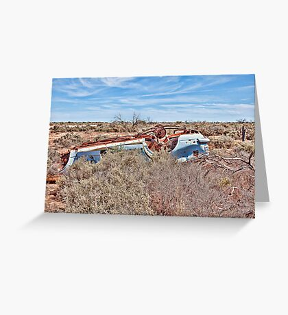 Bullet Hole ridden old car wreck! Greeting Card