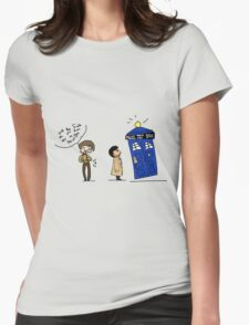Castiel and the Doctor - the angel has the phone box Womens Fitted T-Shirt