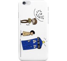 Castiel and the Doctor - the angel has the phone box iPhone Case/Skin