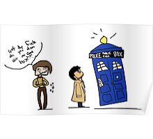 Castiel and the Doctor - the angel has the phone box Poster
