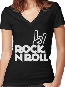 rock n roll Women's Fitted V-Neck T-Shirt