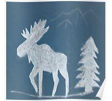 Snow Moose Poster