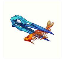 Heron and Goldfish Art Print