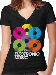 100% Electronic Music (black) Women's Fitted V-Neck T-Shirt