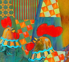 Two proud roosters pillow by walstraasart