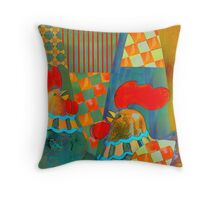 Two proud roosters pillow Throw Pillow