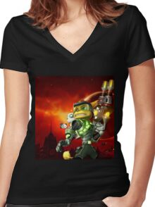 RATCHET CLANK ON ACTION Women's Fitted V-Neck T-Shirt