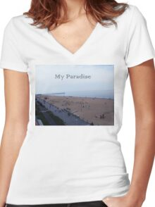 Beach Paradise Women's Fitted V-Neck T-Shirt