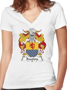 Bautista Coat of Arms/ Bautista Family Crest Women's Fitted V-Neck T-Shirt