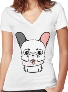 Cute little french bulldog puppy Women's Fitted V-Neck T-Shirt