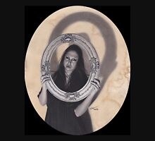 Realism Charcoal Drawing of Beautiful Woman with Antique Frame Unisex T-Shirt