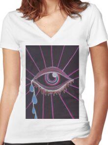 Trippy Eye Women's Fitted V-Neck T-Shirt