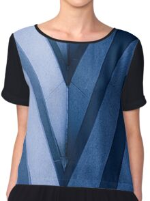 Abstract Architecture in Blue II Chiffon Top