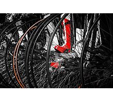 Penny Farthing Red Boots Photographic Print