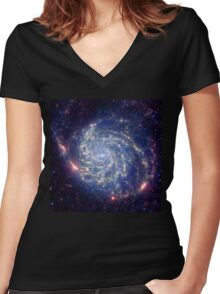 Messier 101 Spiral Galaxy Astronomy Image Women's Fitted V-Neck T-Shirt