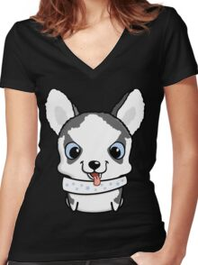 Cute little siberian husky puppy Women's Fitted V-Neck T-Shirt