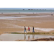 Three Friends on Gold Beach - 69  Years after D-Day Photographic Print
