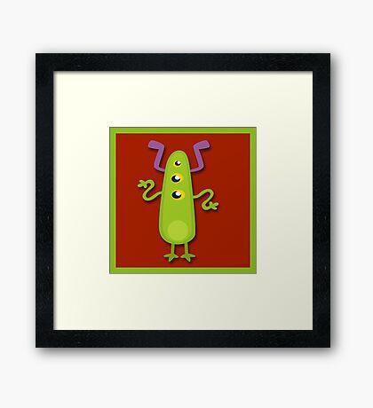 Crazy Green Monster Framed Print