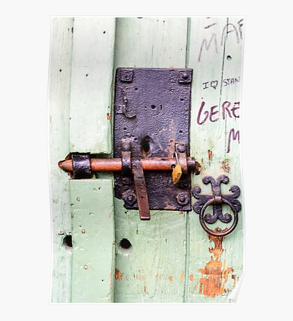 Old door and lock  Poster