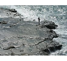 Cliff Fishing In Japan Photographic Print