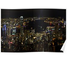 Hong Kong Night Scene Poster