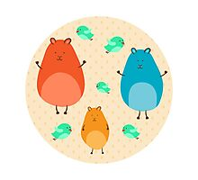Cartoon funny hamsters Photographic Print