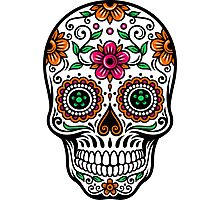 Colorful Floral Skull Photographic Print