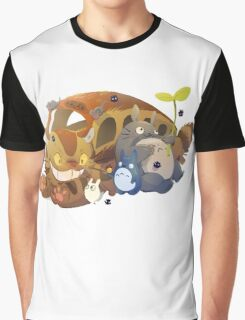 Cat bus, Totoro and Friends   Graphic T-Shirt