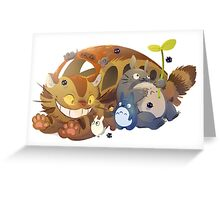 Cat bus, Totoro and Friends   Greeting Card