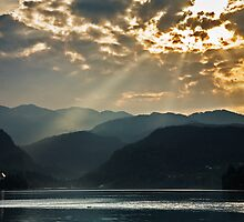 Angel rays over Lake Bled by Ian Middleton