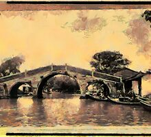 A digital painting of Kiangsu Province, China, Soochow, bridge over canal  by Dennis Melling