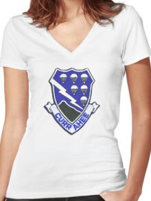 Currahee Patch 101st Airborne Women's Fitted V-Neck T-Shirt