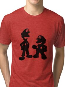 Mario and Luigi Silhouette Tri-blend T-Shirt