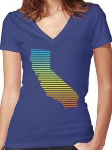 california chill fade Women's Fitted V-Neck T-Shirt