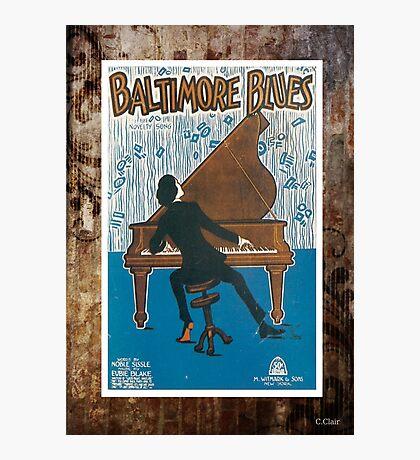 Baltimore Blues Vintage Sheet Piano Music Photographic Print