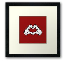 Mickey Hands Heart Love Framed Print