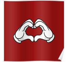 Mickey Hands Heart Love Poster