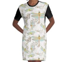 Vintage Botanicals collection dragonflies on the wing Graphic T-Shirt Dress