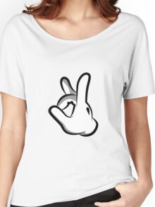 Mickey Hands Finger Up Women's Relaxed Fit T-Shirt