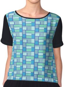 Blue and Green Tiles Chiffon Top