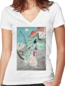 Moon Over Jogan Hall Of The Palace - Yoshitoshi Taiso - 188- - woodcut Women's Fitted V-Neck T-Shirt