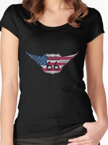 America - Route 66 - USA Women's Fitted Scoop T-Shirt