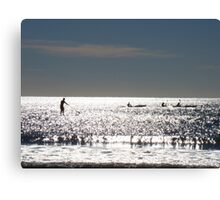Paddlers On The Sunshine Coast  Canvas Print
