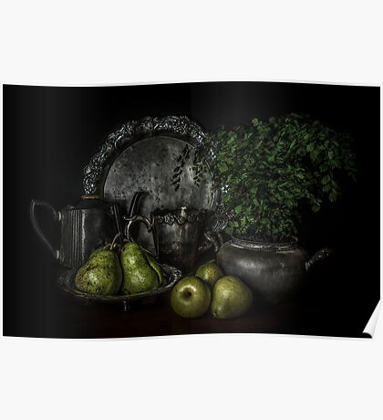 Pears and Pewter Poster