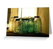 Old Glass Jars and Bottles Greeting Card
