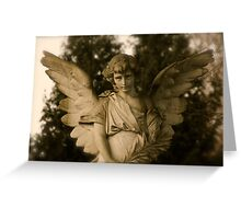 Angel on grave Greeting Card