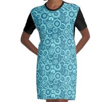 Mod Target concentric circles repeating pattern, aqua, marine blue Graphic T-Shirt Dress